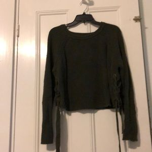 Cropped side tie sweater